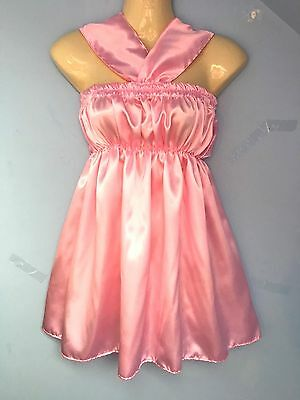 baby pink satin dress adult baby sissy french maid cosplay fits 36-46 cd tv
