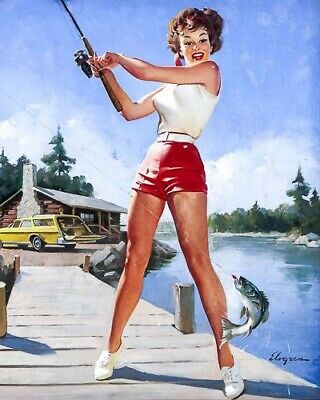 GIL ELVGREN 8x10 PIN-UP GIRL ART MINT PRINT-1950s Gone Fishing Red Shorts Lake