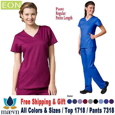 f2cc2b94624 Maevn Scrubs Set EON Women's Sporty Mesh Panel Top & Elastic Pants 1718/7318