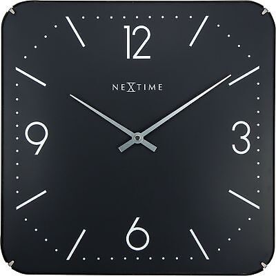 Nextime Wall Clock Basic Square Dome 35x35cm Silent Kitchen Living Watch Black