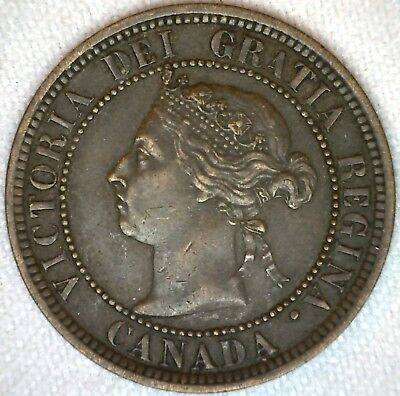 1888 Copper Canadian Canada Large Cent One Cent Coin 1c VF K70