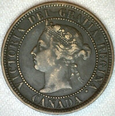 1888 Canada Large Cent One Cent Coin 1c Canadian VF Very Fine K339