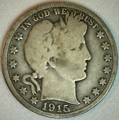 1915 S Barber Silver Half Dollar Fifty Cent 50c US Type Coin Good K50