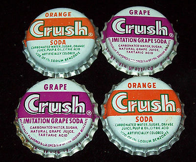 Lot of 4 Vintage Orange & Grape Crush Unused Soda Pop Bottle Caps Cork Lined