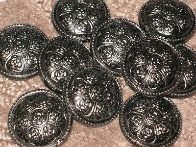 Chanel 10 Cc Logo Front Dark Silver  Camellia  Buttons 22 Mm /  1 ''  New Lot 10