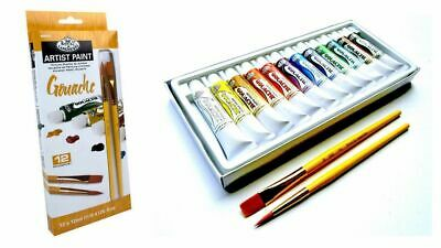 Artists Gouache Paint Set Of 12 + 2 Brushes Royal and Langnickel 12ml tube GOU12