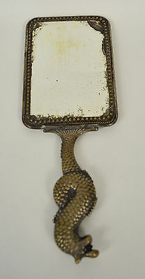 Ornate Asian Hand Mirror Dragon Fish Handle Silve Plate Brass Antique