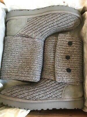 35b3582bb0d UGG WOMEN'S CLASSIC Cardy Knit Grey boots 1016555 New With Box ...