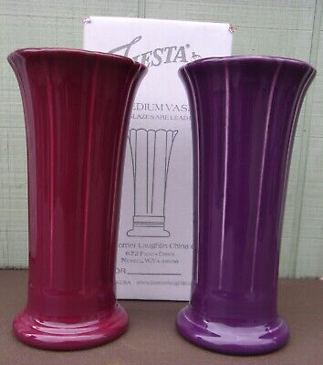 "2 (two) Fiesta Small Flared 8"" Vases Mulberry & Claret Mint RARE & 1st Quality"