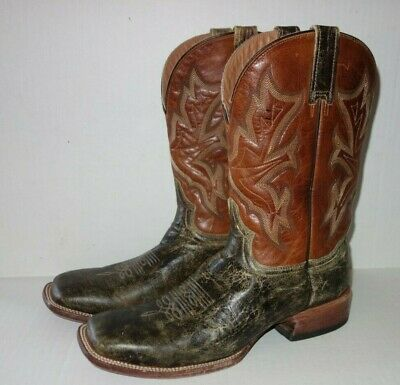 bff42a1272f STETSON WESTERN COWBOY Boots Men 11 D Distressed Leather Brown Square  Handmade