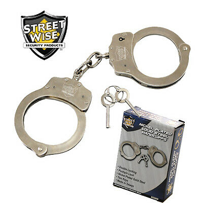 Streetwise - Nickel Plated Steel HANDCUFFS - Double Locking with 2 Keys