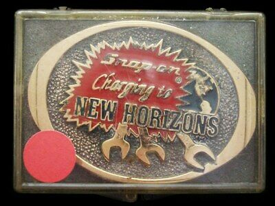 JF29105 *NOS* VINTAGE 1980s **SNAP-ON TOOLS - NEW HORIZONS** SOLID BRASS BUCKLE
