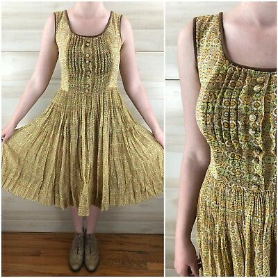 Vintage 40s 50s Yellow Full Skirt Geometric Cotton Casual Party Dress S M