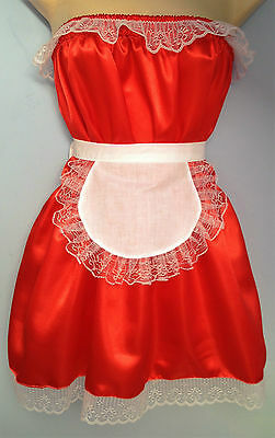 red satin dress + apron adult baby fancy dress sissy french maid cosplay 36-52