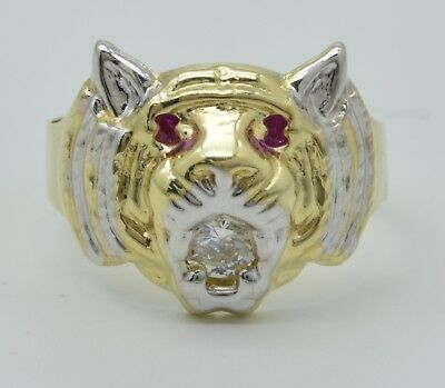 8b65191f413b9 SIZE 7 MEN'S Lion Head Ring Ruby Eyes Real Solid 10K Yellow Gold 2.9 ...