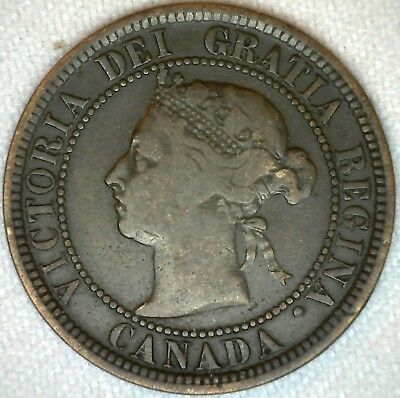 1888 Copper Canadian Canada Large Cent One Cent Coin 1c VG Very Good K77