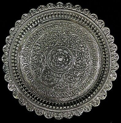 Beautiful Sterling Silver Floral Repoussé Hand Chased Round Plate Platter Salver