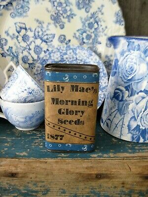 Antique Pantry Tin Blue Calico Sleeve Morning Glory Seed Free Shipping