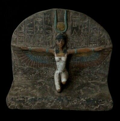 RARE EGYPTIAN ANTIQUE Winged ISIS GODDESS EGYPT Carved Stone STELA 1200-1085, BC