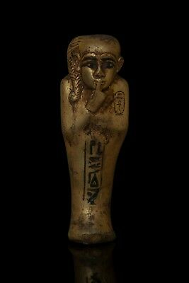 EGYPTIAN STATUE ANTIQUES EGYPT Ushabti Shabti PHARAOH Gold Paint Carved Stone BC