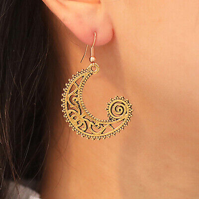 Vintage Tribe Bohemian Swirl Hollow Moon Dangle Earrings Wedding Jewelry S
