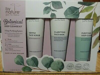 By Nature New Zealand BOTANICAL Deep Cleanse Kit Face Scrub Mask Cleanser Set