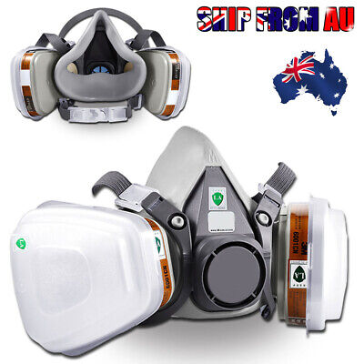 2X Half Face Dust Gas Mask Respirator Safety Painting Spraying For 6200 6001
