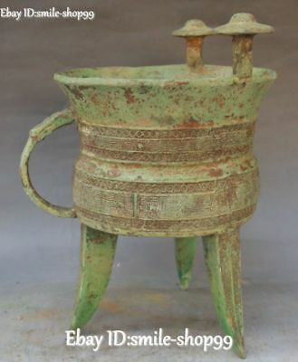 Antique Bronze Ware Dynasty Folk 3 Foot Drinking Container Wine Cup Wineglass