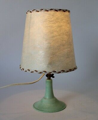 Vintage Retro 50s STURDEE GREEN BAKELITE TABLE LAMP w/ SHADE Art Deco ADJUSTABLE