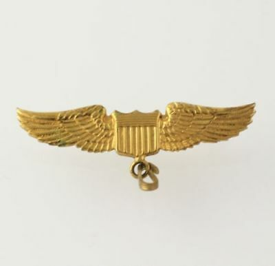 WWII Pilot Wings Pin - Winged Shield Vintage Military Collectible Service Badge