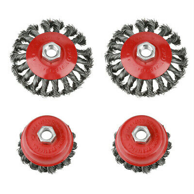 4pcs Rotary Knot Flat Cup Wire Wheel Brush for Angle Grinder Rust Paint Removal