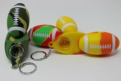 Collectible Football Silicone pipe Hand Smoking Pipe W/glass Bowl