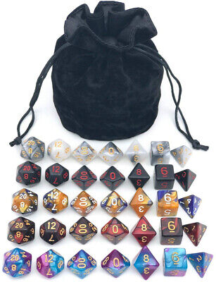 Assorted Polyhedral Dice Set With Black Drawstring Bag, 5 Complete Dice Sets Of