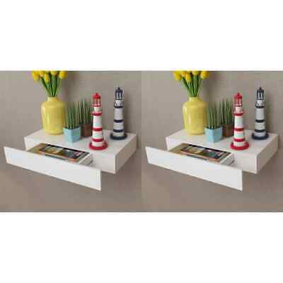 vidaXL 2x Floating Wall Shelves with Drawers White 48cm Hanging Display Unit