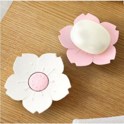 Soap Dishes Box Flower Holder Container Drain Waterproof Bathroom Supplies BS