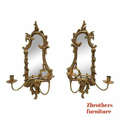 Pair Friedman Brothers Gold Gilt Carved hanging Wall Candle Sconces