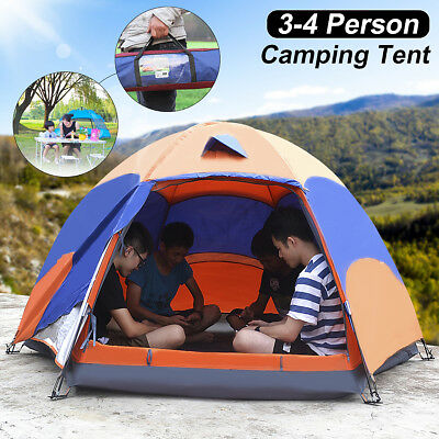 4 Person Double Layer Instant Up Tent Family Waterproof Shelter Outdoor AU NEW