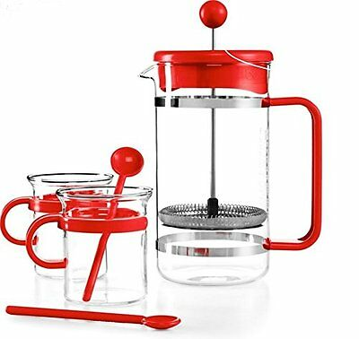 Bodum Kitchen Red Bistro French Press 5 Piece Set Coffee Maker Glass Mugs Spoons