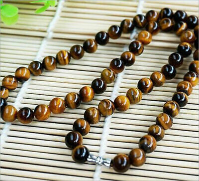 Natural 8mm Yellow Tiger's Eye Gemstone Bead Round Necklace 18''