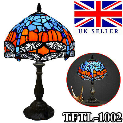 TIFFANY Table Lamp Antique Style Multi Colour Bed/Living Room Hand Crafted UK