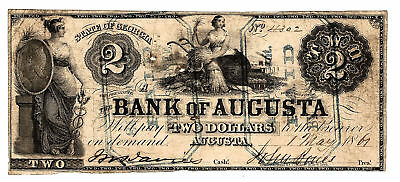 1861 Bank of Augusta GA 2 Two Dollar Note A-723 (rare with Interest Stamps)
