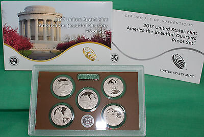 2017 US Mint America the Beautiful Quarters Proof ATB 5 Coin Set with Box & COAI