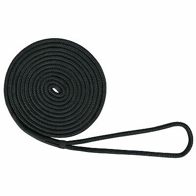 "US Ropes Nylon Double Braided Dock Line 1/2"" x 20' Black"