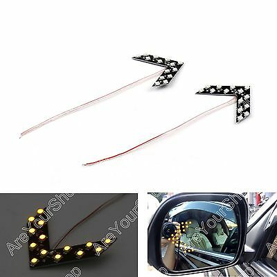 2x Arrow Panel 14 SMD LED For Car Side Mirror Turn Signal Indicator Light Yellow