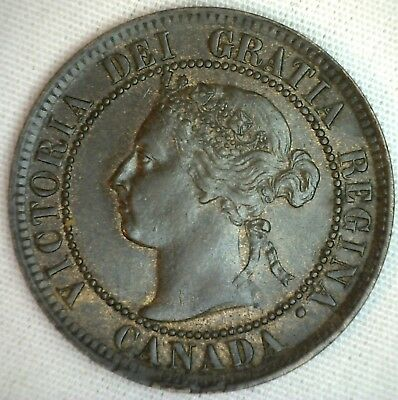 1895 Copper Canadian Large Cent Coin 1-Cent Canada UNC