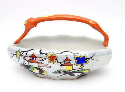 Chikosa Goldcastle Art Deco Mid-Century Japan Lusterware Candy Dish with Handle