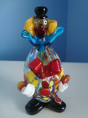 Vintage Murano Hand Blown Colorful Art Glass Clown Figurine Sculpture Foil Label