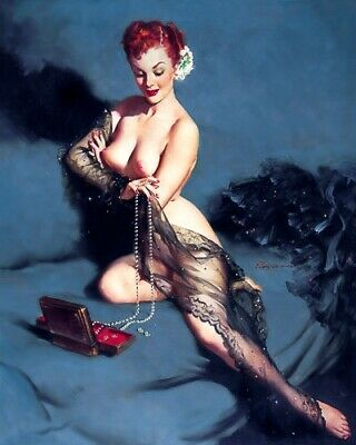 GIL ELVGREN 8x10 PINUP GIRL MATTE PRINT-Nude Redhead Bare Breasts Sheer Sexy