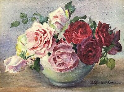 MARIE CHAUTARD-CARREAU - BEAUTIFUL EARLY 20thC FRENCH IMPRESSIONIST ROSES BOWL