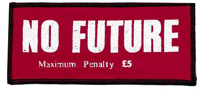 No Future Red Cotton Sew-On Patch London Punk Rocker 1977 Seditionaries Scottish